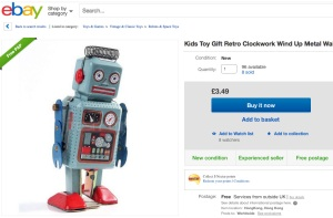 Toy robot from China available on eBay