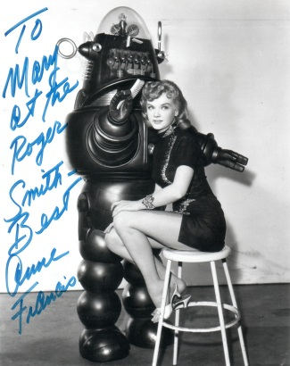 Signed photograph of Anne Francis and Robby the robot