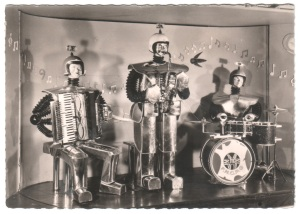 Robots-Music black and white postcard