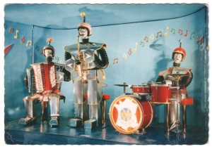 Robots-Music colour postcard